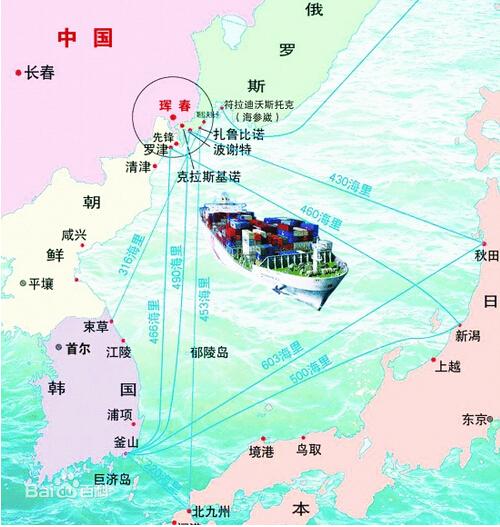 万能海港   图们江出海口地图   原标题:中俄将靠近朝鲜建大港口   据新