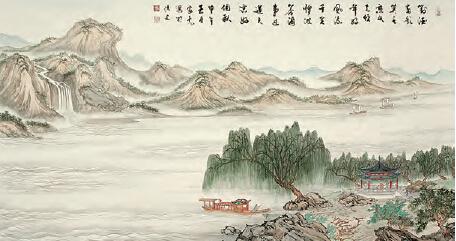 他的山水,既有二,四尺的横幅竖幅,又有五米长的鸿篇巨制.
