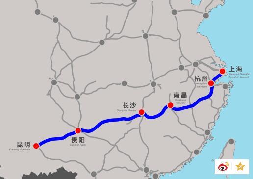 沪昆高铁路线图