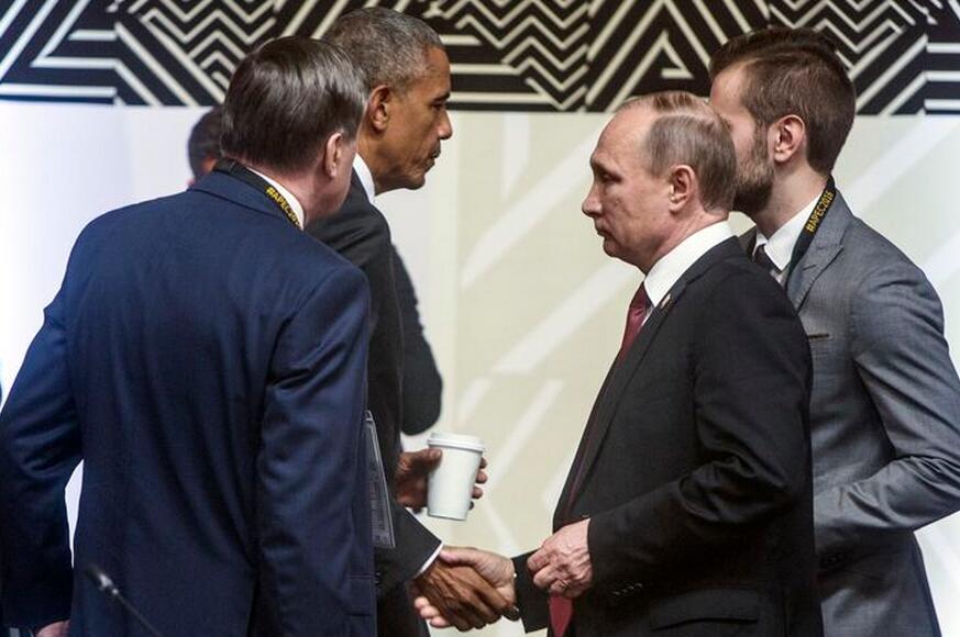 会面面左左 奥巴马普京冷漠握手交谈仅4分钟