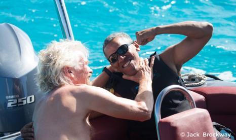 无官一身轻 奥巴马加勒比海学风筝滑浪
