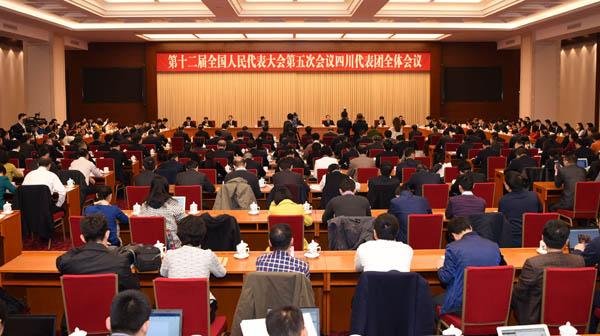 四川人大_十二届全国人大四川代表团举行全体会议 集中审议政府