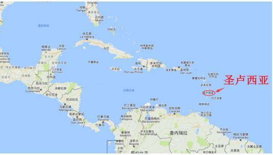 圣卢西亚位置示意(来源:谷歌地图)