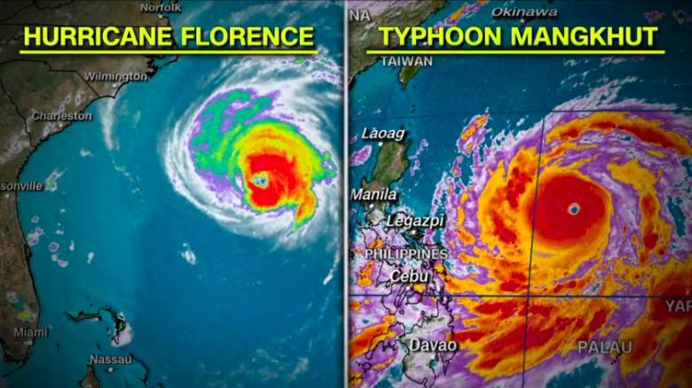 (右)与「佛罗伦斯」对比图.图:CNN-林郑 政府严阵以待山竹袭