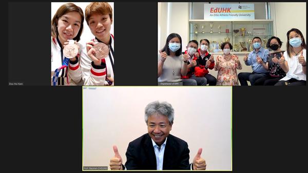 教大校長張仁良祝賀杜凱琹、李皓晴奪得東京奧運乒乓球女子團體賽銅牌