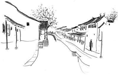 日本街道夜手绘